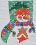 CH-163 Stars Snowman Mini Stocking 4 ¼ x 5 18 Mesh Danji Designs CH Designs