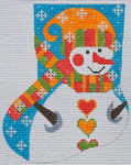 CH-162 Snowman Mini Stocking With stitch guide  4 ¼ x 5 18 Mesh Danji Designs CH Designs