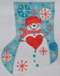 CH-161 Heart Snowman Mini Stocking(stitch guide available) 4 ¼ x 5 18 Mesh Danji Designs CH Designs