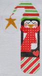 CH-157 Heart Penguin Candy Cane  2 ¾ x 5 ¼ 18 Mesh Danji Designs CH Designs