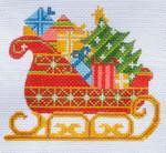 CH-156 Santa's Sleigh(stitch guide available) 4 ½ x 4 18 Mesh Danji Designs CH Designs