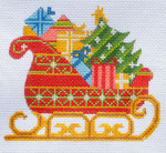CH-156 Santa's Sleigh With stitch guide 4 ½ x 4 18 Mesh Danji Designs CH Designs