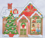 CH-149 Santa's House(stitch guide available)  9 ¼ x 8 ½ 18 Mesh Danji Designs CH Designs