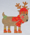 CH-155 Striped Reindeer( 3 x 3 ½ 18  Mesh With stitch guide Danji Designs CH Designs