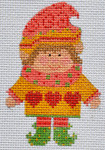 CH-152 Girl Elf(stitch guide available) 2 ¼ x 3 ½ 18 Mesh Danji Designs CH Designs