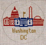 "CB-42 Washington, D.C. Ornament 4"" circle 18 Mesh CHRISTINE SAUNDERS– EYE OF THE NEEDLE"
