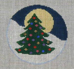 CB-20 Holiday Tree with Moon Ornament 4 x 4 18 Mesh CHRISTINE SAUNDERS– EYE OF THE NEEDLE