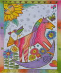 LB-128 Rocking Horse Moon12 x 14 18 Mesh Danji Designs LAUREL BURCH