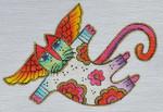 LB-127 Floral Angel Cat  6 x 4 18 Mesh Danji Designs LAUREL BURCH