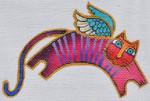 LB-126 Striped Angel Cat 6 x 4 18 Mesh Danji Designs LAUREL BURCH