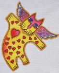 LB-125 Heart Angel Cat 5 x 6 18 Mesh Danji Designs LAUREL BURCH