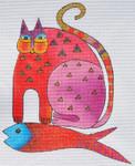 LB-123 Mythical Cat 7 ½ x 8 ½ 18 Mesh Danji Designs LAUREL BURCH