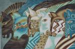 LB-118 Embracing Horses 12 x 18 18 Mesh Danji Designs LAUREL BURCH