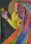 LB-119 Moon Woman 10 x 14 18 Mesh Danji Designs LAUREL BURCH
