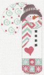 CH-17 Snowman with Hat Candy Cane stitch guide available 3 x 5 ¼ 18 Mesh Danji Designs CH Designs