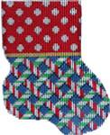 CT-1912 Dot/Peppermint Weave Mini Sock 3.25x4.25 18 Mesh Associated Talents