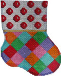 CT-1908 Red Coin Dot/Harlequin Mini Sock 3.25x4.25 18 Mesh Associated Talents