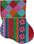 CT-1907 Harlequin/Jolly Stripe Mini Sock 3.25x4.25 18 Mesh Associated Talents