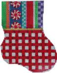 CT-1906 Jolly Stripe/Red Lattice Mini Sock 3.25x4.25 18 Mesh Associated Talents