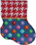 CT-1904 Red Houndstooth/Multi Dot Mini Sock 3.25x4.25 18 Mesh Associated Talents