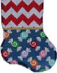 CT-1902 Red Chevron/Multi Candies Mini Sock 3.25x4.25 18 Mesh Associated Talents