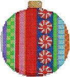 CT-1812B Merry Stripe II Ball Ornament 3.25x3.25 18  Mesh Associated Talents