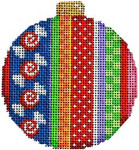 CT-1812A Merry Stripe I Ball Ornament 3.25x3.25 18 Mesh Associated Talents