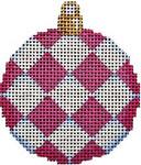 CT-1476P Pink Harlequin Mini Ball Orna. 2.5x2.75 18 Mesh Associated Talents