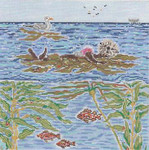 SWB1101 Floating Sea Otter 10X10 18 Mesh Cooper Oaks Designs