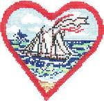 COL558B Postcard Boat Heart 6X6 18 Mesh Cooper Oaks Designs