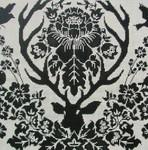 JD4006BL Antler Damask-Black 14X14 13 Mesh Cooper Oaks Designs