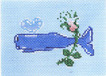 SWB1036 Whale w/Flower  3.25X4.5 18 Mesh Cooper Oaks Designs