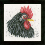 "PN157489 Lanarte Kit Black Chicken Printed back. ; 7.6"" x 7.6""; Ecru Linen; 30ct"