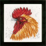 "PN157490 Lanarte Kit Brown Rooster Printed back. ; 7.6"" x 7.6""; Ecru Linen; 30ct"