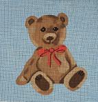 """JKNA-‐003 Boy Teddy Bear  8"""" x 8"""" 13 Mesh  Judy Keenan NeedleArts"""
