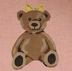 """JKNA-‐004 Girl Teddy Bear 8"""" x 8""""  13 Mesh  Judy Keenan NeedleArts"""