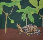"""JKNA-‐008 Eastern Box Turtle with May Apples 10.5"""" x 9.75""""  18 Mesh  Judy Keenan NeedleArts"""