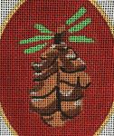 "JKNA-‐009 Pinecone Ornament  3.25"" x 4.5"" oval 18 Mesh  Judy Keenan NeedleArts"