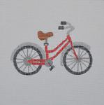 "JKNA-‐010 Red Bicycle  5"" x 5"" 18 Mesh Judy Keenan NeedleArts"