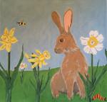 """JKNA-‐011 Bunny with Daffodils 14.25"""" x 13.25"""" 18 Mesh Judy Keenan NeedleArts"""