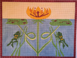 "JKNA-­‐012 Water Lilly with Frogs 10.75"" x 8.25"" 18 Mesh Judy Keenan NeedleArts"