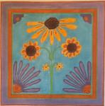 "JKNA-‐016 Black-‐Eyed Susan with Cone Flowers  9.5"" x 9.5"" 18  Mesh Judy Keenan NeedleArts"