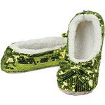 Lime Green Size Medium-Shoe Size 7/8  Snoozie Bling Collection Sparkle