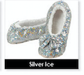 Silver Ice Size Large-Shoe Size 9/10 Snoozie Bling Collection Sparkle