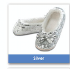 Silver Size Size Medium-Shoe Size 7/8 Snoozie Classic Sequin Ballerina