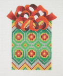 """BB 0004 Package / Green, Gold & Silver Red Bow  4"""" x 2.5""""18 Mesh Burnett And Bradley"""