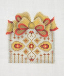 """BB 0003 Package / Silver with Gold & Red Bow 4"""" x 2.75"""" 18 Mesh Burnett And Bradley"""