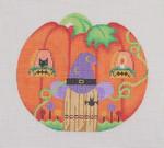 "BB 0523 Pumpkin House 5"" x 6.25"" 18 Mesh Burnett And Bradley"
