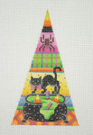 "BB 0538	Halloween / Triangle / Black Cat / Caldron / Patterned Background 5 1/2""	18  Mesh Burnett And Bradley"