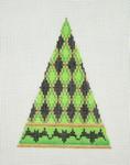 "BB 0540Halloween / Triangle / Green, Black & Gold Diamond Pattern / Black Bat Border5 1/2""  18 Mesh Burnett And Bradley"